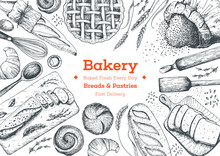Bakery Top View Frame. Background Template For Design. Engraved Food Image.