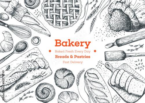 Fotografie, Obraz  Bakery top view frame