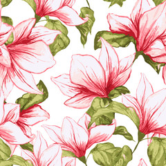 FototapetaSeamless pattern with magnolia flowers on the white background. Fresh summer tropical blossoming pink flowers for fabric textile design. Vector illustration