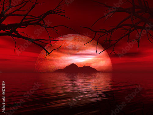 Spoed Foto op Canvas Bruin 3D landscape with fictional planet and island in sea