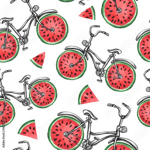 akwarela-bezszwowe-wzor-rowery-z-arbuzem-kola-kolorowy-lato-tlo