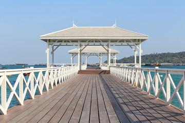 Fototapeta samoprzylepna Asadang Bridge or wooden Bridge of Koh Si Chang Island.