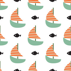 Sailboat and fish seamless child vector funny pattern.
