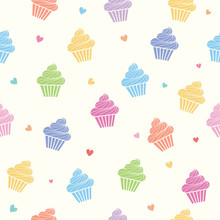 Cupcakes Colorful Pastel Seaml...