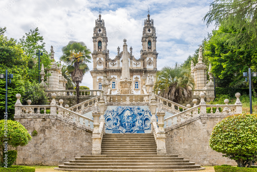 Fototapety, obrazy: Azulejo decorated stairway to the Sanctuary of Our Lady of Remedios in Lamego ,Portugal