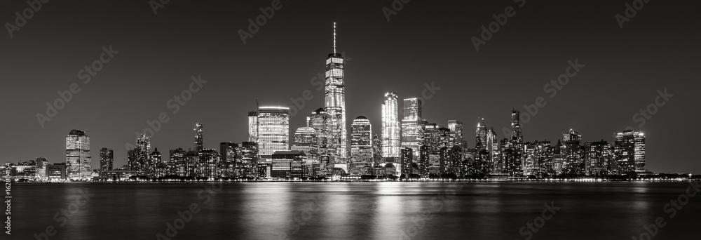 Fototapeta Black and White panoramic view of New York City Financial District skyscrapers. Panoramic view of Lower Manhattan