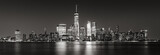 Fototapeta Nowy Jork - Black and White panoramic view of New York City Financial District skyscrapers. Panoramic view of Lower Manhattan