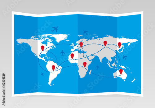 Folded world map with airplanes and markers travel and tourism folded world map with airplanes and markers travel and tourism vector illustration gumiabroncs Image collections