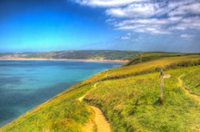 Coast Path To Woolacombe Devon England UK In Summer With Blue Sky Hdr
