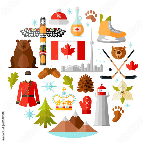 Traditional National Symbols Of Canada Set Of Canadian Icons