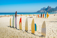 Surf Boards Lined Up In Rio De...