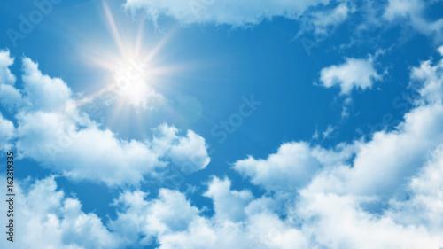Sommer Hintergrund - blauer Himmel mit Wolken und Sonne Canvas Print