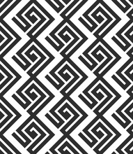 Seamless Pattern In Greek Style. Black And White Tilework. Geometric Tiles With Meander Ornament. Monochrome Greece Background. Hexagonal Swatch.