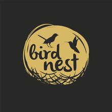 Bird Nest Vector Logo Design.