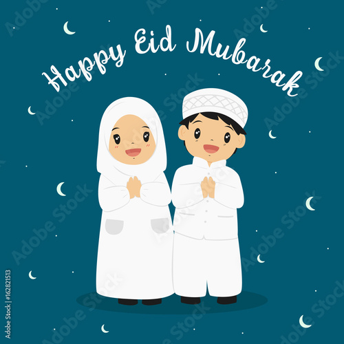 Happy eid mubarak greeting card vector happy muslim boy and girl happy eid mubarak greeting card vector happy muslim boy and girl with crescent moon m4hsunfo
