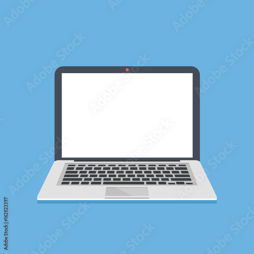 Laptop with white screen. Thin modern notebook with blank empty screen. Laptop template. Modern flat design graphic elements. Vector illustration Wall mural