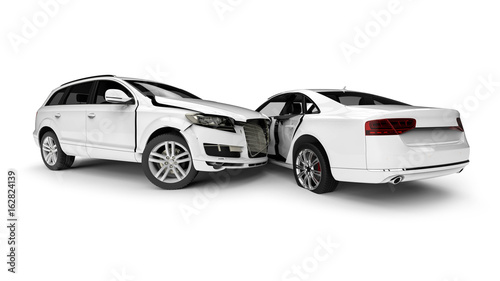 Fotografie, Obraz  White Wrecked cars in an accident / 3D render image representing an car accident