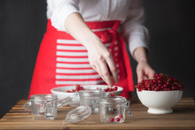 Housewife Prepare Canned Head With Ribes Jam