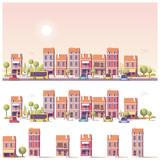 Fototapeta Miasto - Vector low poly 2d buildings and city scene