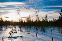 Nacreous Cloud Sunset In Lapland