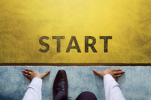Start Background, Top View Of Businessman On Start Line, Business Challenge Or Do Something New