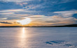 frozen lake sunset