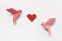 Pink Birds And Red Heart Of Or...