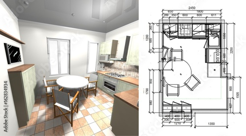 Green Kitchen With Drawing And Dimensions 3d Rendering Design