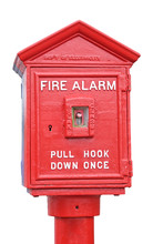 Vintage Fire Alarm Box. Isolated.