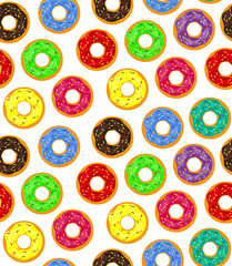 Fototapeta Słodycze Seamless background of donuts with pastry pads