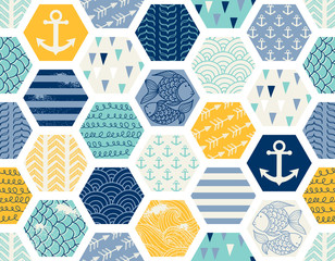 FototapetaSeamless pattern with nautical elements, patchwork tiles. Can be used on packaging paper, fabric, background for different images, etc. Freehand drawing