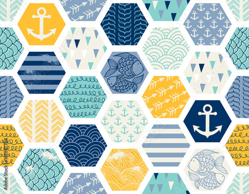 Seamless pattern with nautical elements, patchwork tiles. Can be used on packaging paper, fabric, background for different images, etc. Freehand drawing