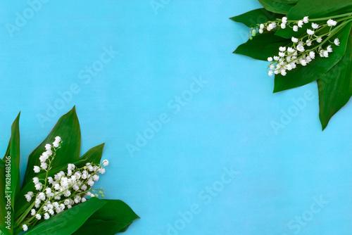 Poster Muguet de mai lilies of the valley on a blue background