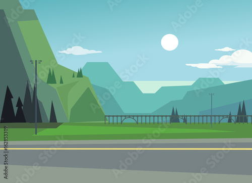 Green landscape with hills and trees. Asphalt among nature. Vector flat cartoon illustration