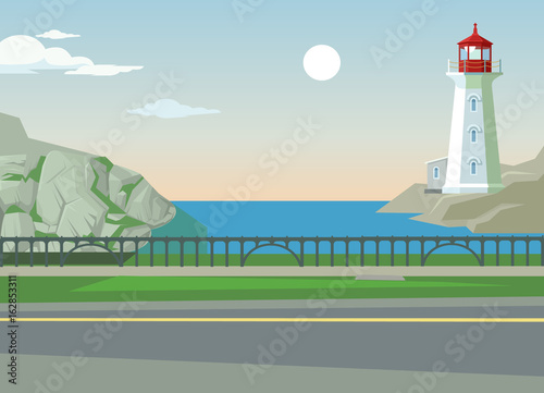 Foto op Canvas Lichtblauw Green landscape with hills trees and sea. Asphalt among nature. Vector flat cartoon illustration