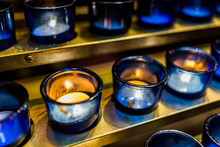 Macro Closeup Of Blue Candles ...