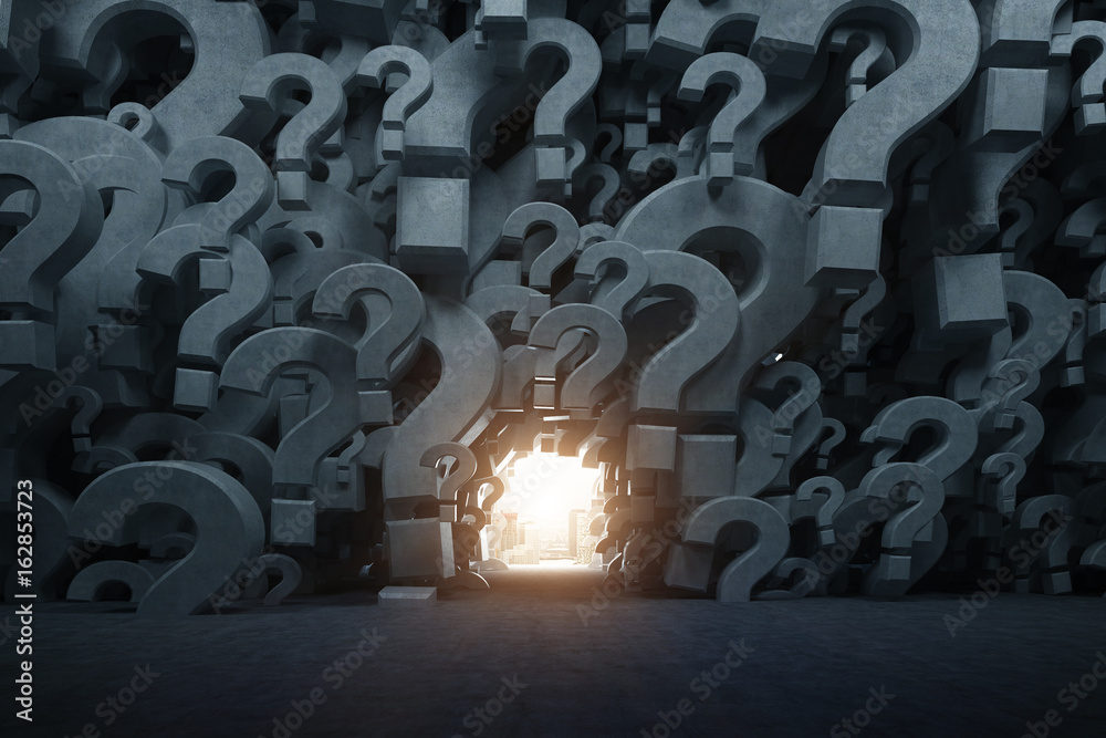 Fototapeta Gray question mark room with a way out