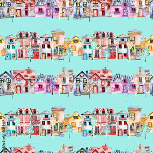 Photo  Seamless pattern with cute cartoon watercolor english houses in a row and trees,