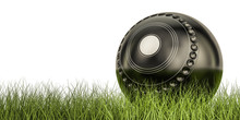 Lawn Bowl Ball Concept On The Grass, 3D Rendering
