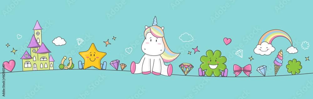 Fototapeta Einhorn Pony Fantasy Banner mit Regenbogen, Sternen, Herzen und Kleeblatt