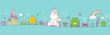 Einhorn Pony Fantasy Banner Mit Regenbogen, Sternen, Herzen Und Kleeblatt