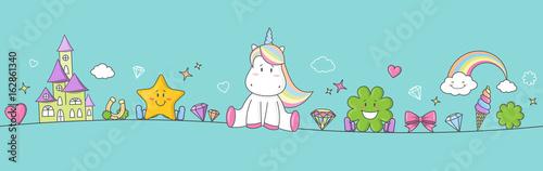plakat Einhorn Pony Fantasy Banner mit Regenbogen, Sternen, Herzen und Kleeblatt