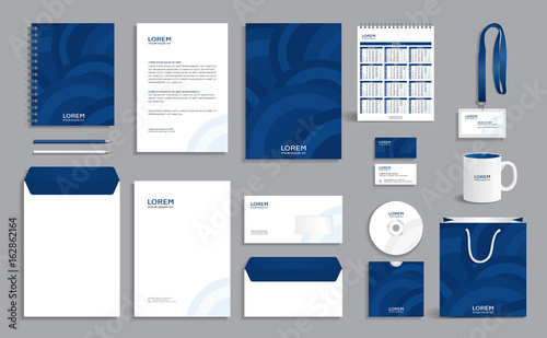 Photo Corporate identity design template with blue circles background