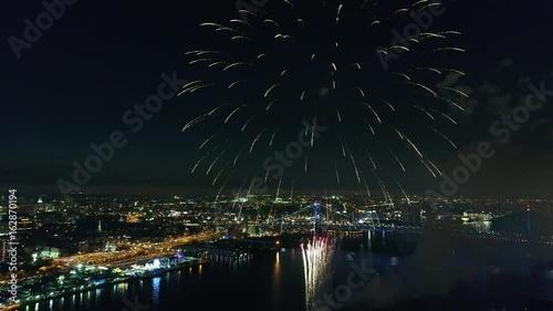 Fireworks over the Delaware River Philadelphia Pennsylvania Grand Finale Canvas Print