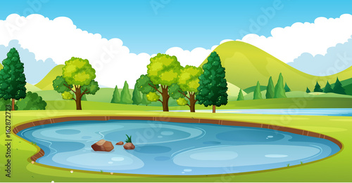Deurstickers Pool Scene with pond in the field