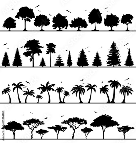 Silhouette Wälder Wall mural