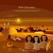 New Zealand. People Of Maori, Tradition And Culture. Mountains And Beach Landscape, Natives. Village Of Aboriginals Maori Of New Zealand