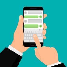 Social Network Concept. Hand Holding Smartphone. Chating And Messaging Concept. Vector Illustration. Flat Design. EPS 10.