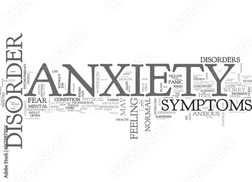 Garden Poster Retro sign ANXIETY DISORDER AND CHANGED LIVES TEXT WORD CLOUD CONCEPT