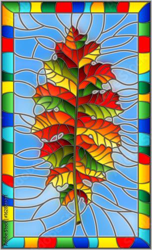 ilustracja-w-stylu-witrazu-z-lisci-jesienia-na-niebieskim-tle-w